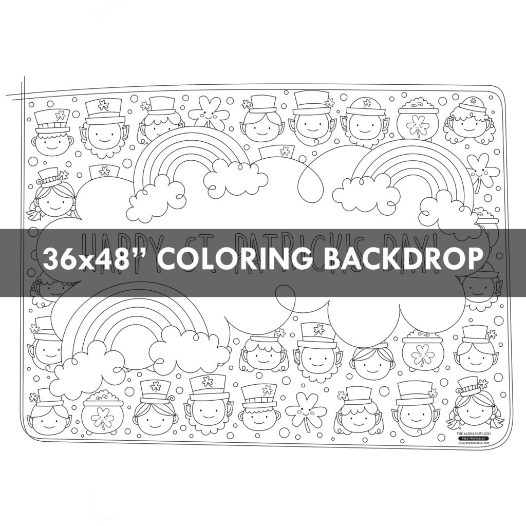 St. Patrick's Day Coloring Backdrop Free Printable