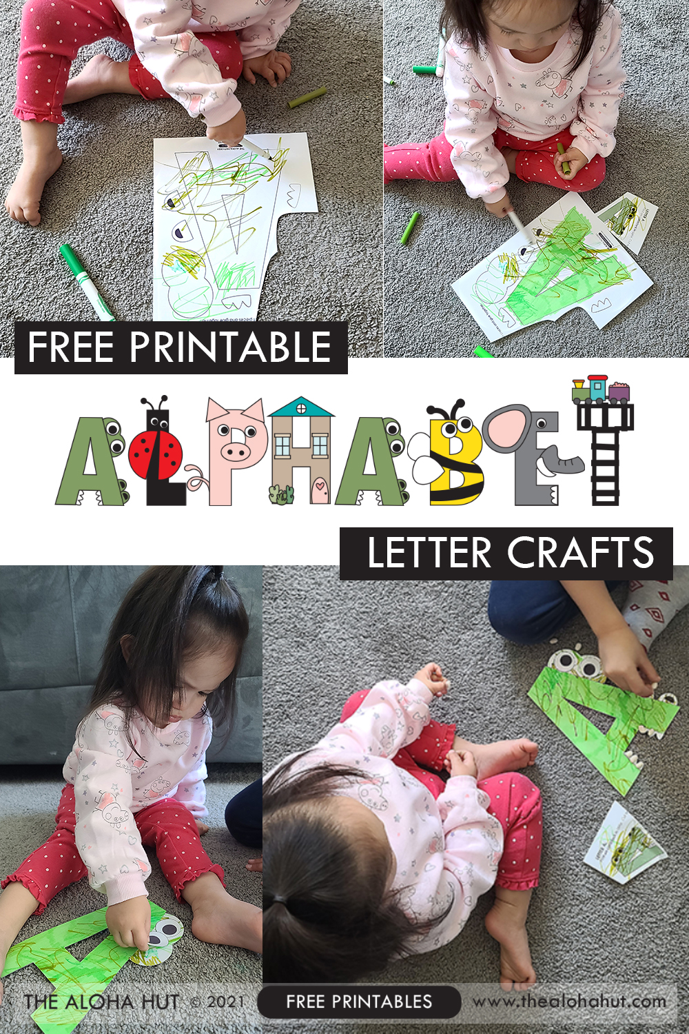 alphabet letter crafts - letter A - free printable 2 by the Aloha Hut