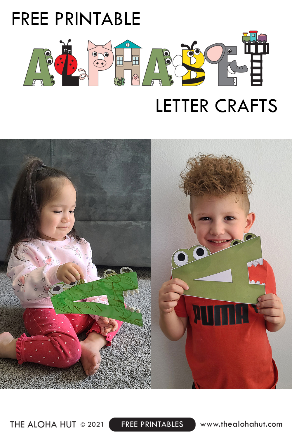 alphabet letter crafts - letter A - free printable 3 by the Aloha Hut