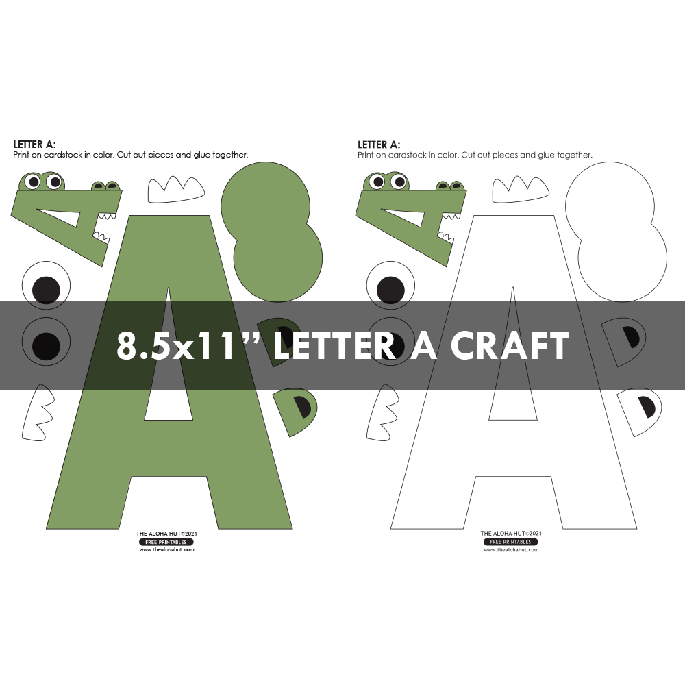 alphabet letter crafts - letter A - free printable 6 by the Aloha Hut