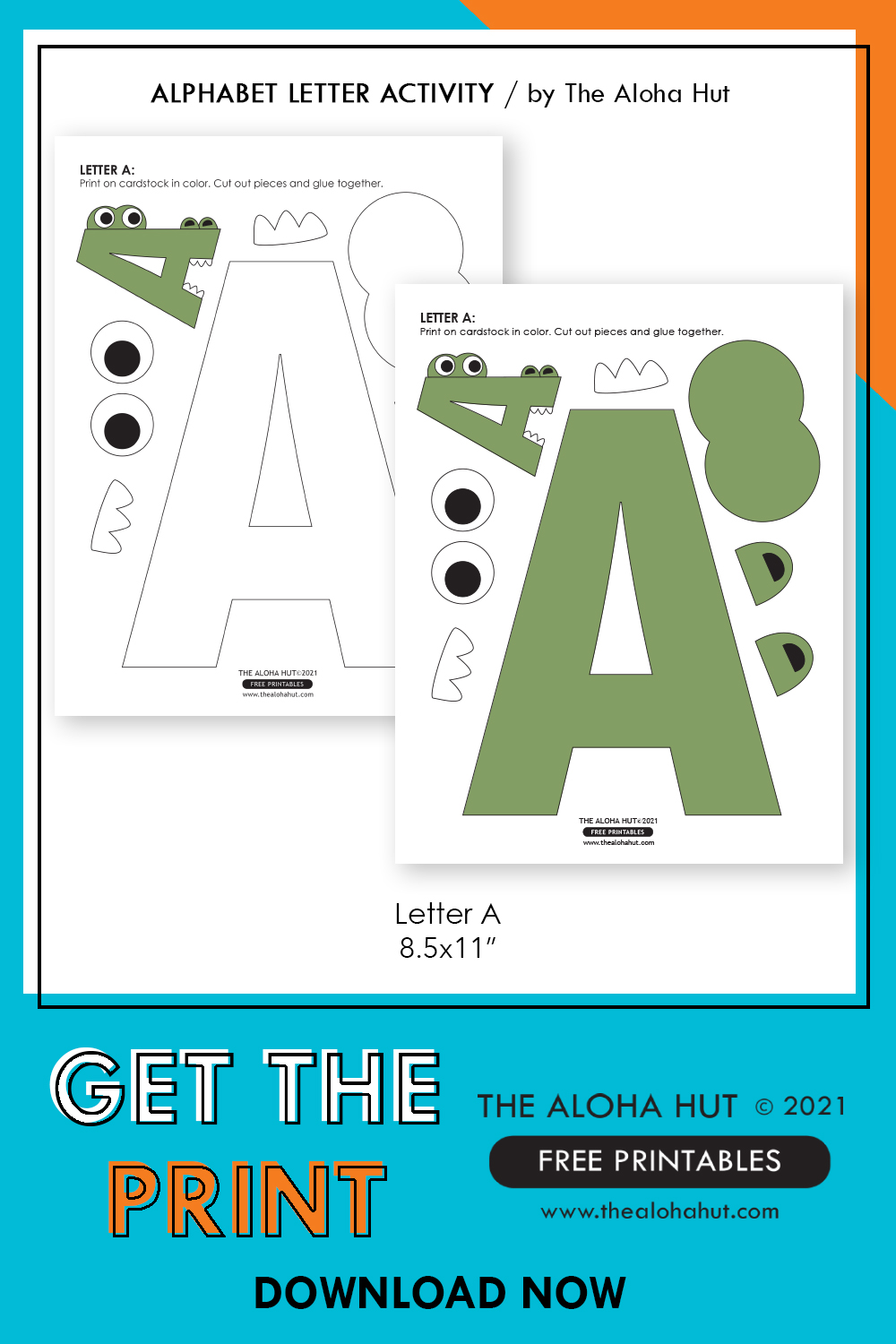 alphabet letter crafts - letter A - free printable 7 by the Aloha Hut