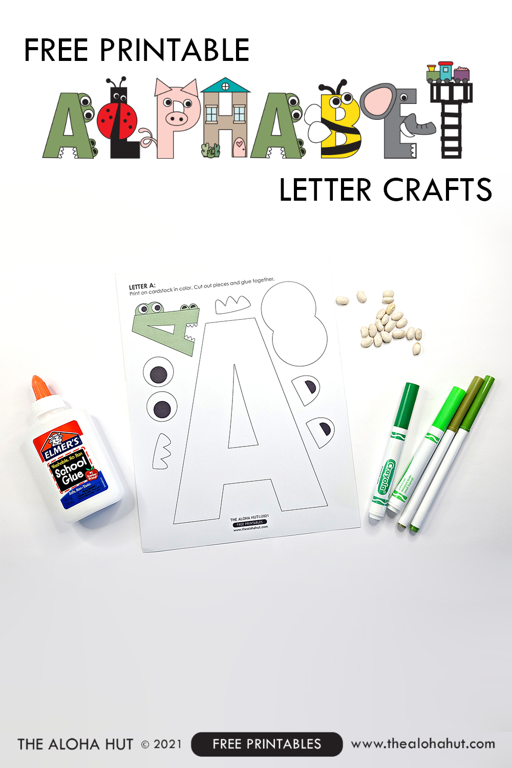 alphabet letter crafts - letter A - free printable by the Aloha Hut