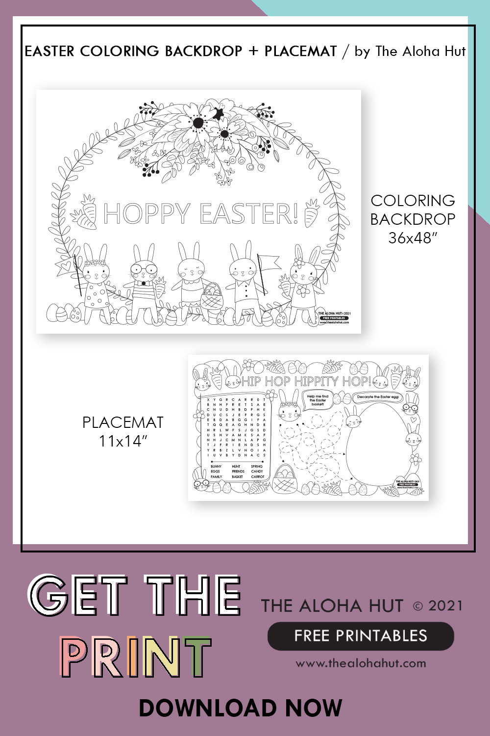 free printable Easter Backdrop + Placemat by the Aloha Hut