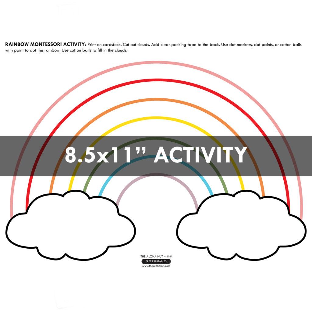 Rainbow Dot + Sticky Cloud free printable Montessori Activity by the Aloha Hut