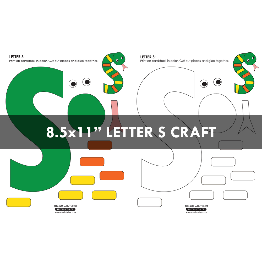 Alphabet Letter Crafts - Letter S - free printables 4 by the Aloha Hut