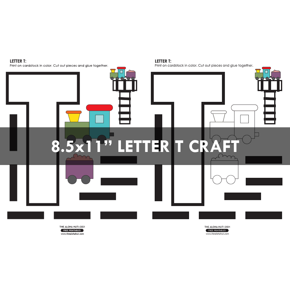 Alphabet Letter Crafts - Letter T - free printables 5 by the Aloha Hut