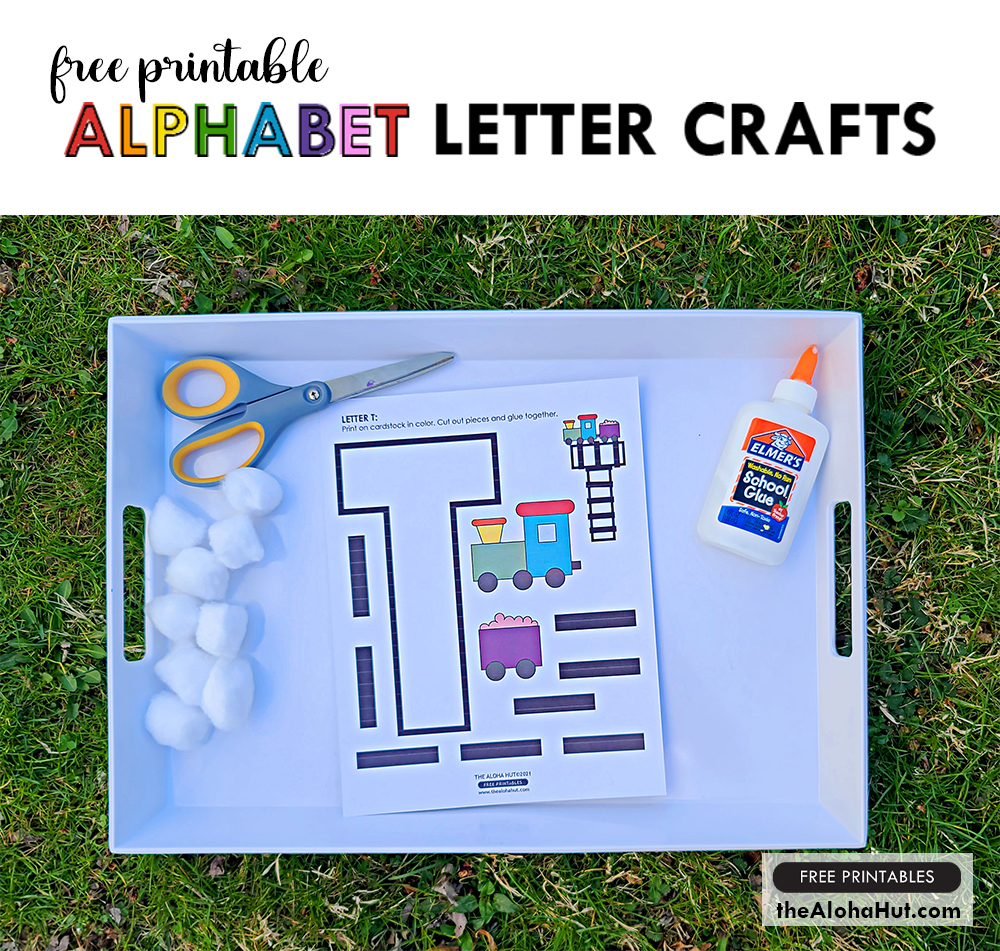 Alphabet Letter Crafts - Letter T - free printables by the Aloha Hut
