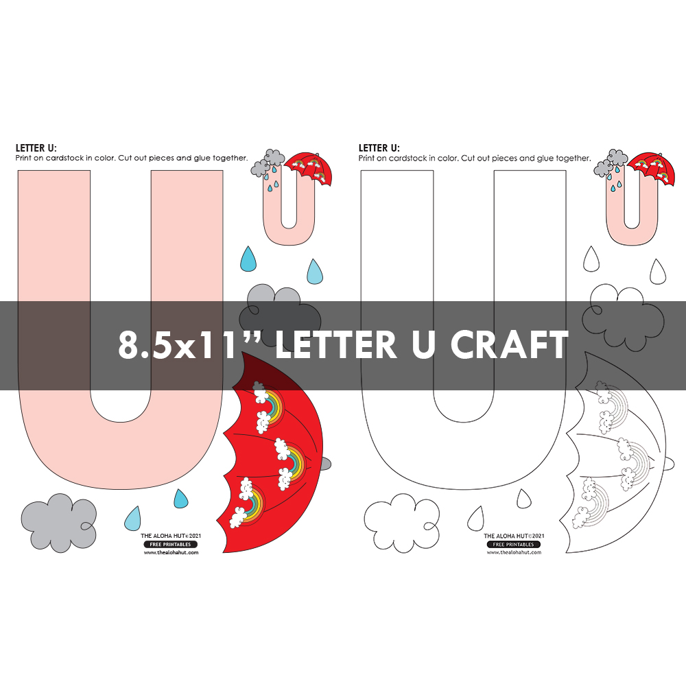 Alphabet Letter Crafts - Letter U - free printables 3 by the Aloha Hut