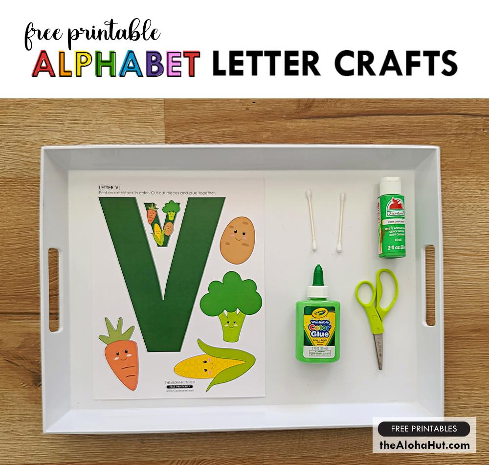 Alphabet Letter Crafts - Letter V - free printables by the Aloha Hut