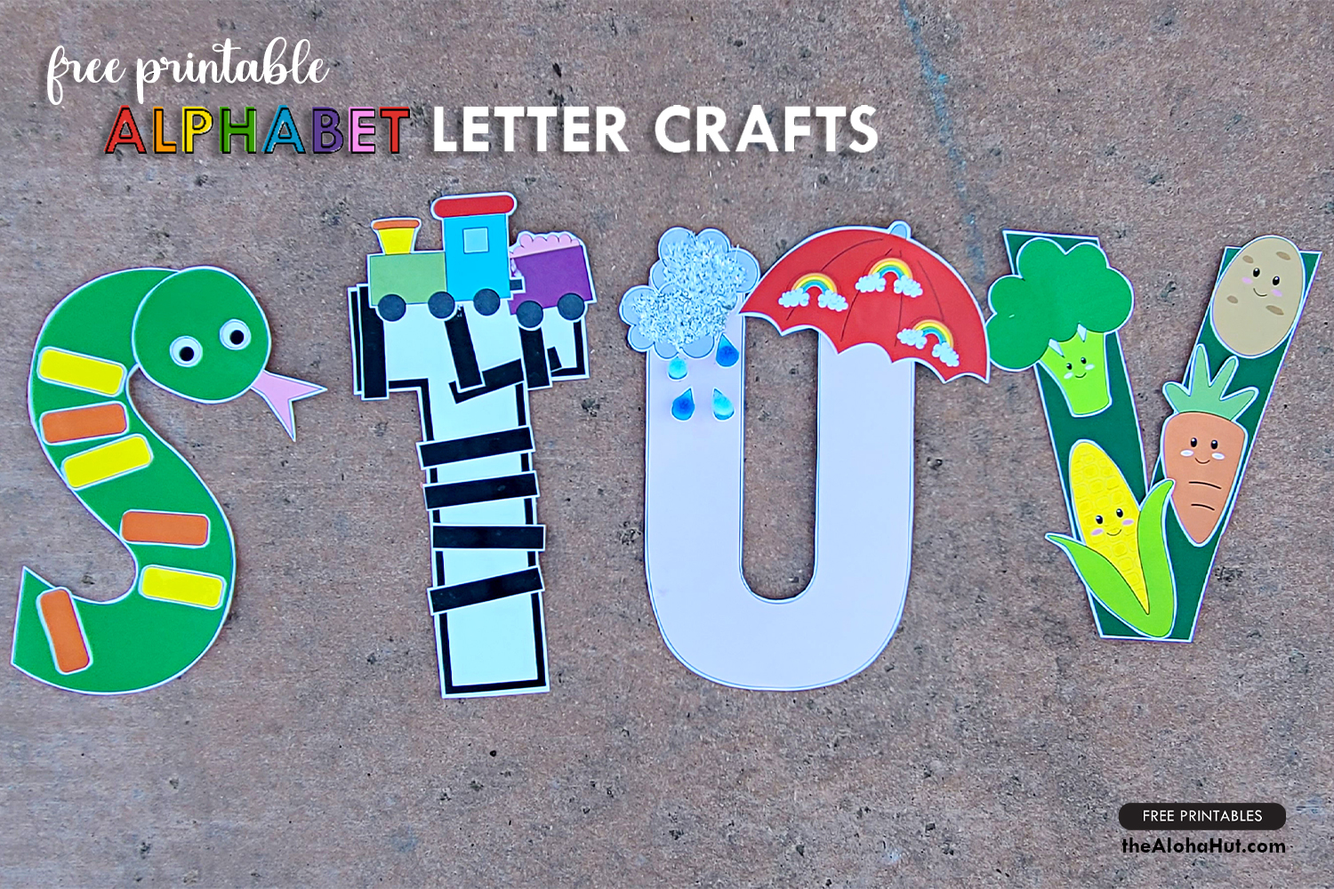 Alphabet Letter Crafts - Letters S T U V - free printables 2 by the Aloha Hut