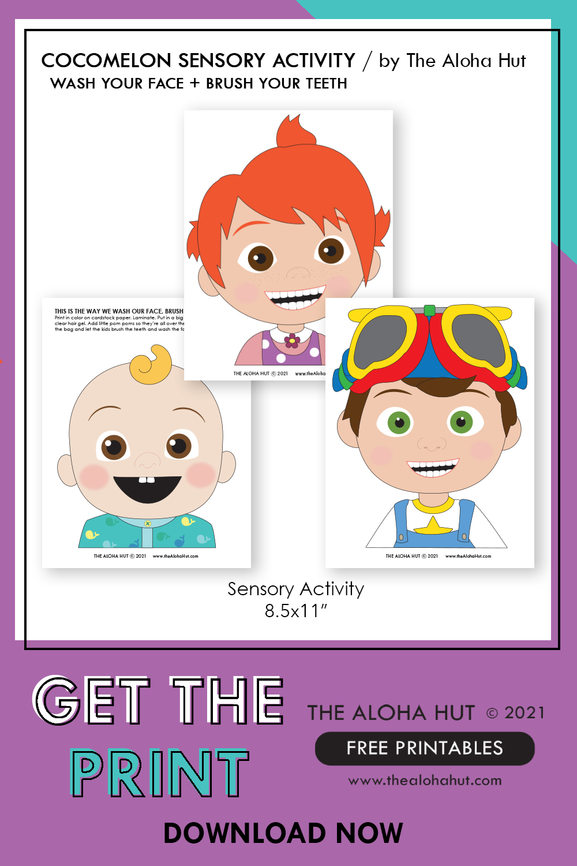 Cocomelon wash face brush teeth sensory activity free printable by the Aloha Hut