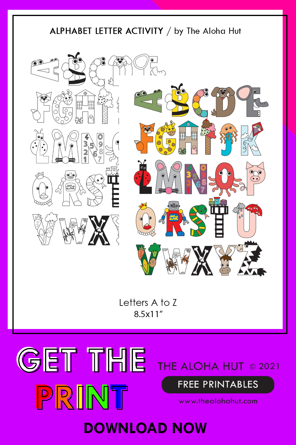 Free Printable Alphabet Letter Crafts 10 by the Aloha Hut