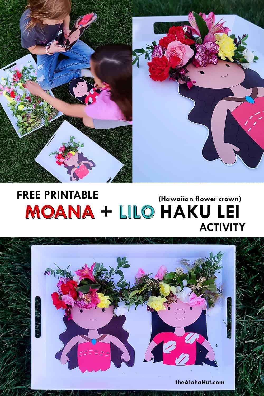 Moana + Lilo Haku Lei Activity free printable by the Aloha Hut