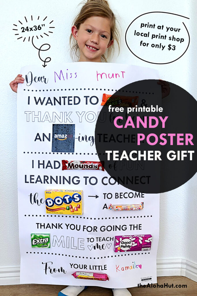 candy poster teacher appreciation gift by the Aloha Hut