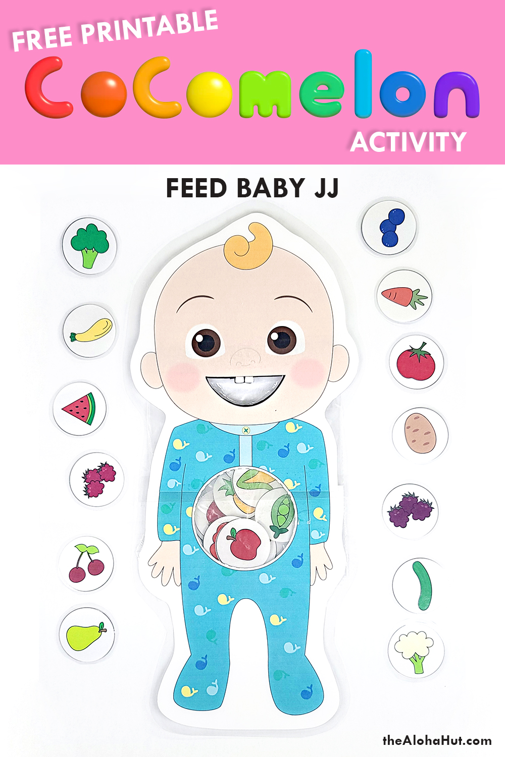 cocomelon feed baby JJ activity free printable by the Aloha Hut