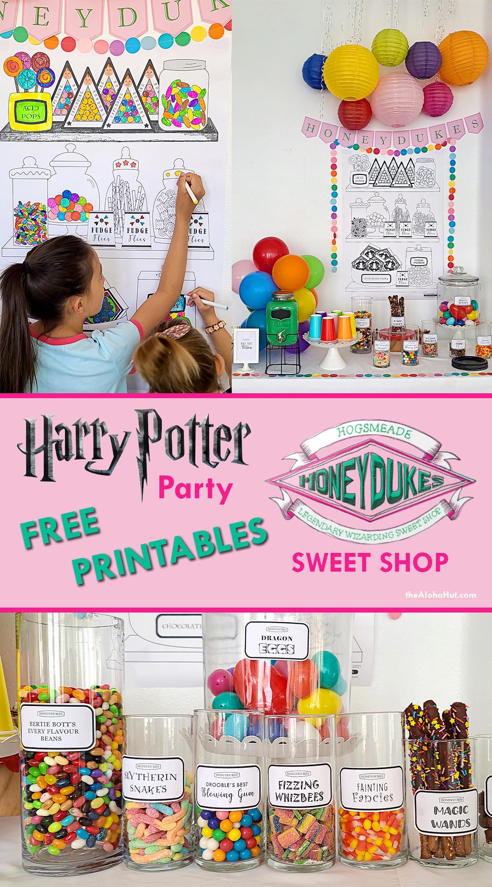 harry potter party honeydukes free printables by the Aloha Hut