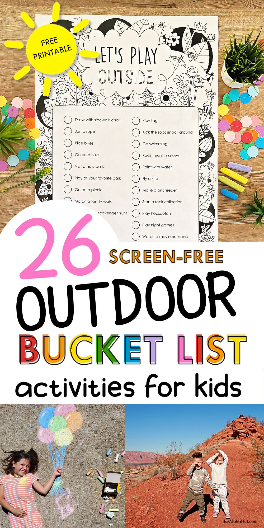 26 Outdoor Activities for Kids - free printable by the Aloha Hut