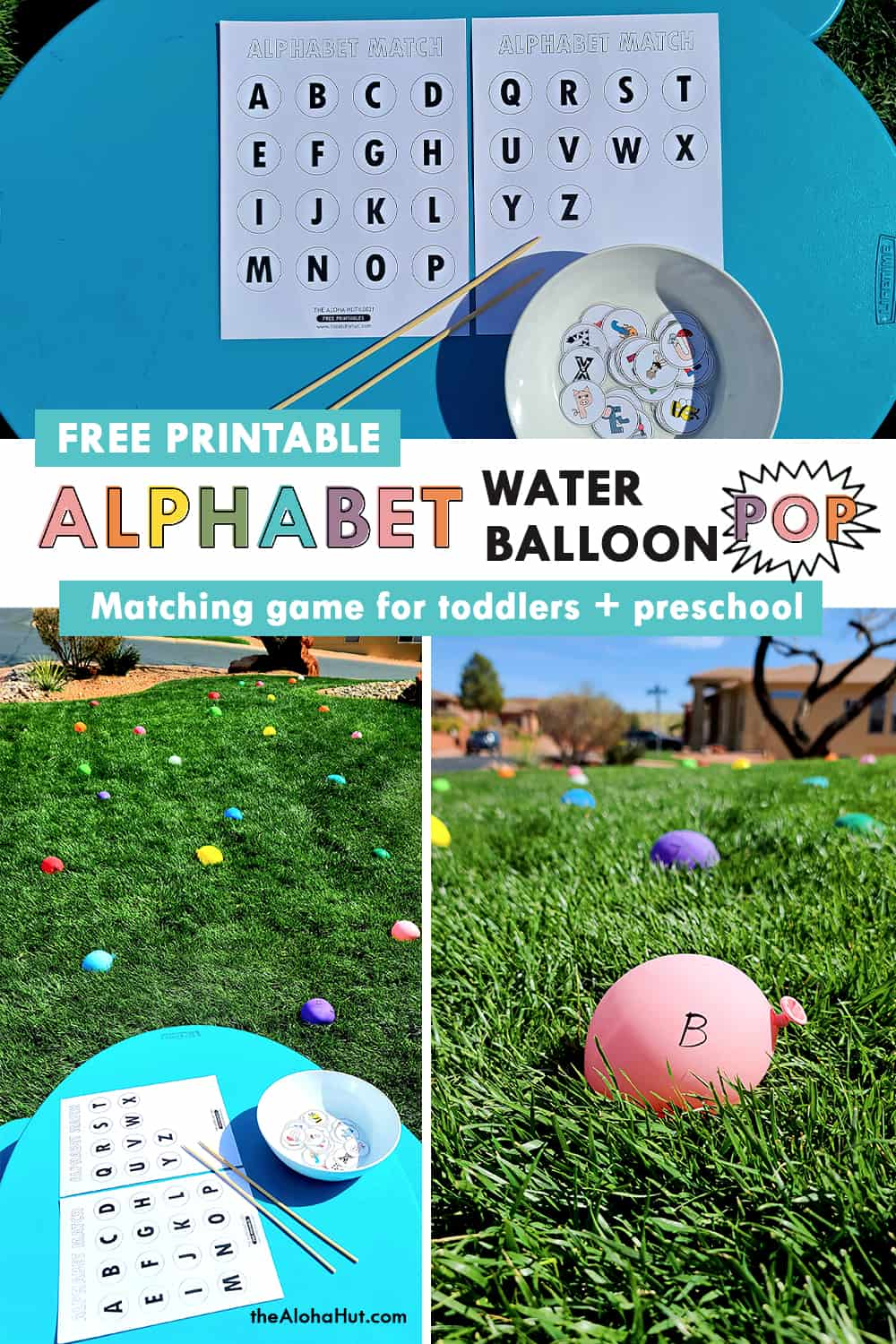 alphabet water balloon pop game by the Aloha Hut