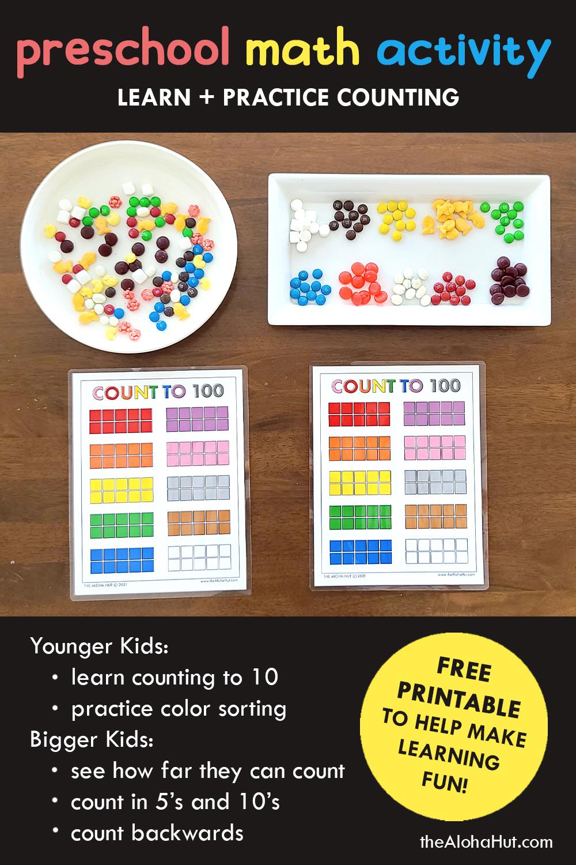 count to 100 preschool math activity