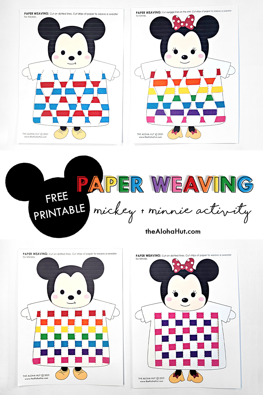 disney mickey + minnie paper weaving activity