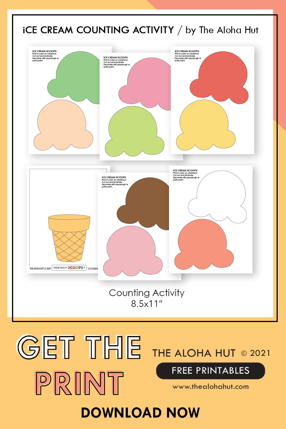 ice cream counting activity by the Aloha Hut