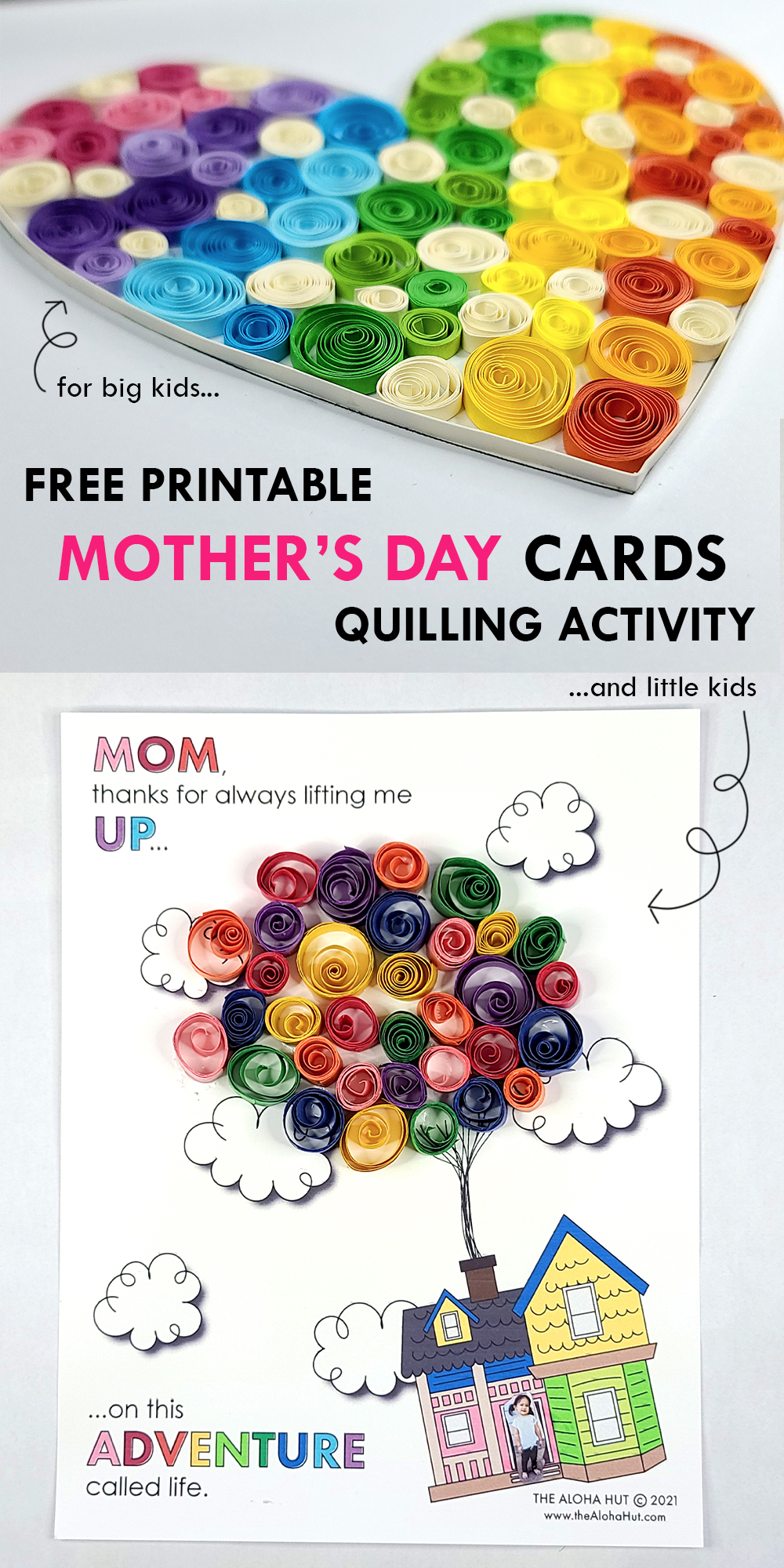 mother's day cards quilling activity by the Aloha Hut