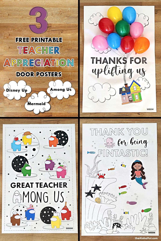 teacher appreciation posters by the Aloha Hut