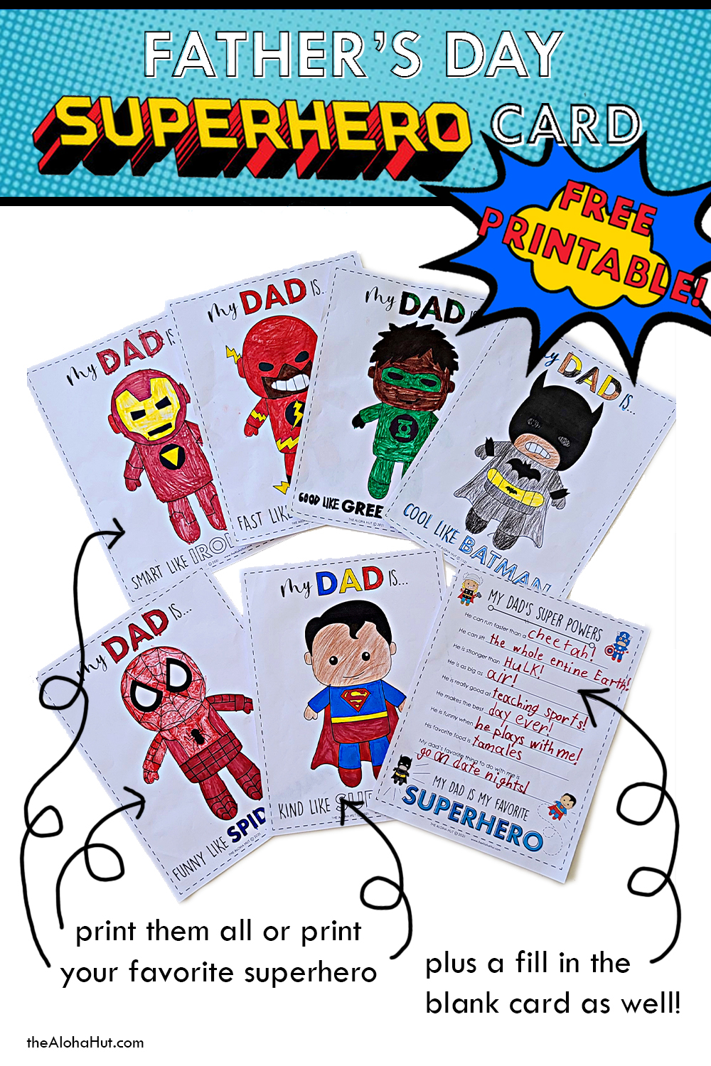 father's day superhero cards