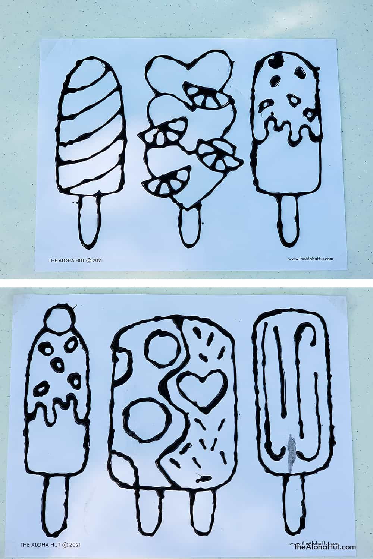 black glue resist art popsicles