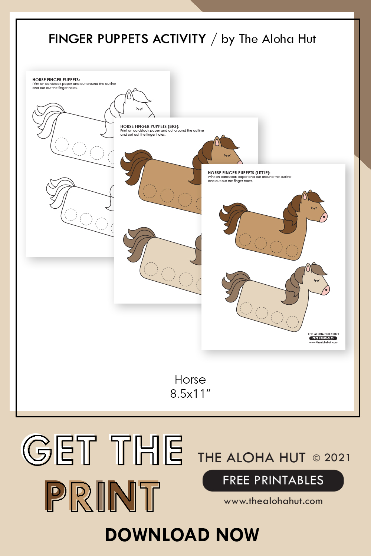 unicorn + horse finger puppets