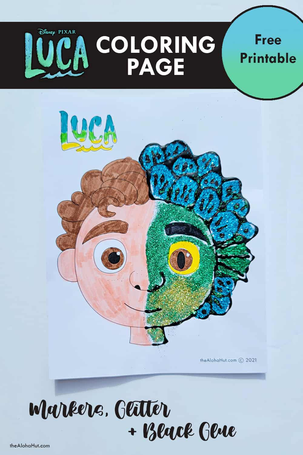 Disney Pixar LUCA coloring page by the Aloha Hut