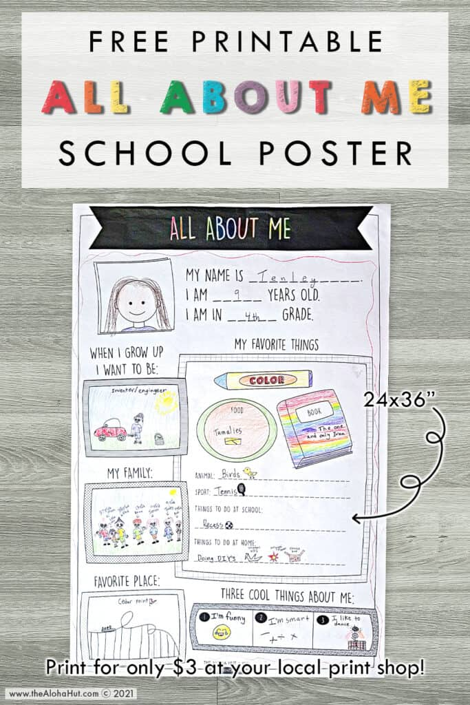 All About Me - free printable