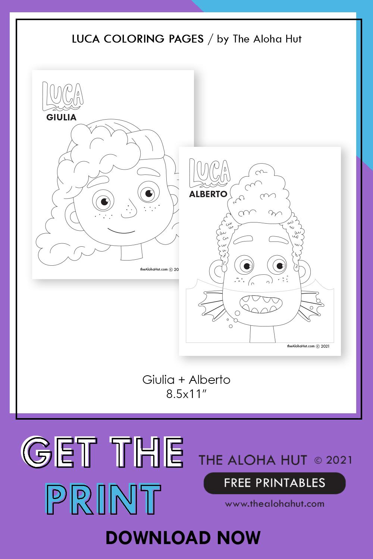 FREE Disney Pixar LUCA coloring pages